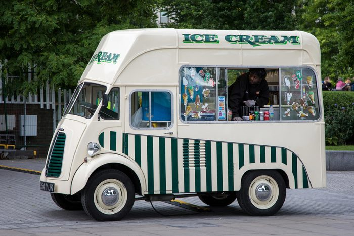 London, UK - 5 June 2017: Retro style ice cream and refreshments van on the South Bank, London, UK.