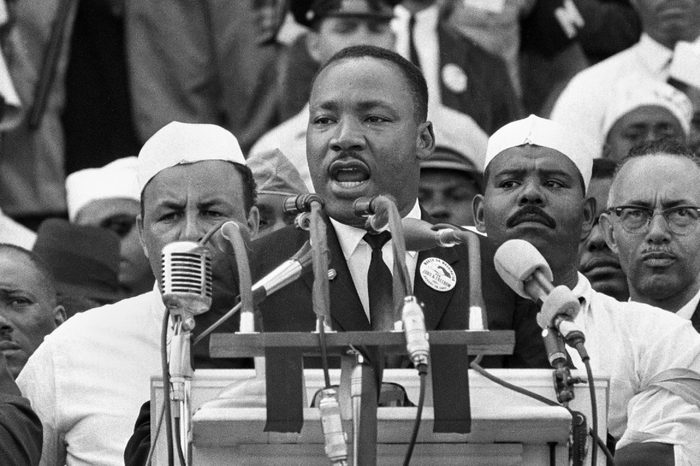"""Martin Luther King Jr Dr. Martin Luther King Jr., head of the Southern Christian Leadership Conference, addresses marchers during his """"I Have a Dream"""" speech at the Lincoln Memorial in Washington"""