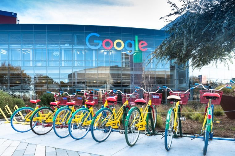 Mountain View, Ca/USA December 29, 2016: Googleplex - Google Headquarters with biked on foreground