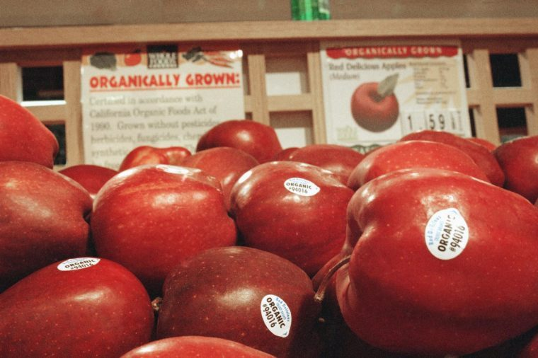 Organically grown apples are shown on display at Whole Foods Market in the Sherman Oaks section of Los Angeles, . The federal government today took the first steps toward regulating organic foods, but sidestepped the most controversial issues such as use of irradiation and crops that have been genetically altered
