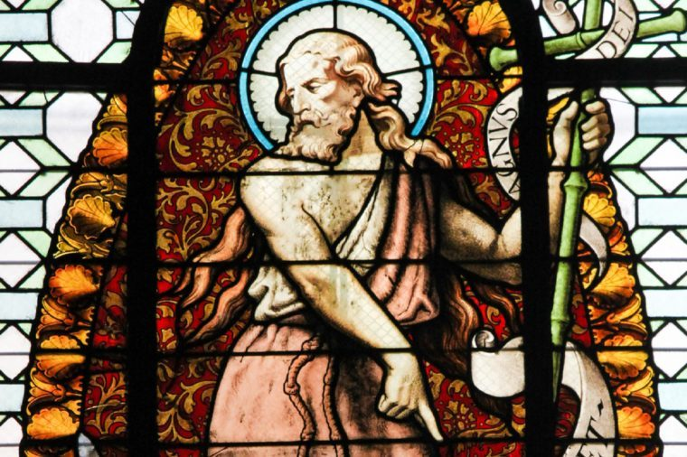 PARIS, FRANCE - MARCH 4, 2011: Stained Glass in the Church of Sainte Sulpice, Paris, depicting Saint John the Baptist.