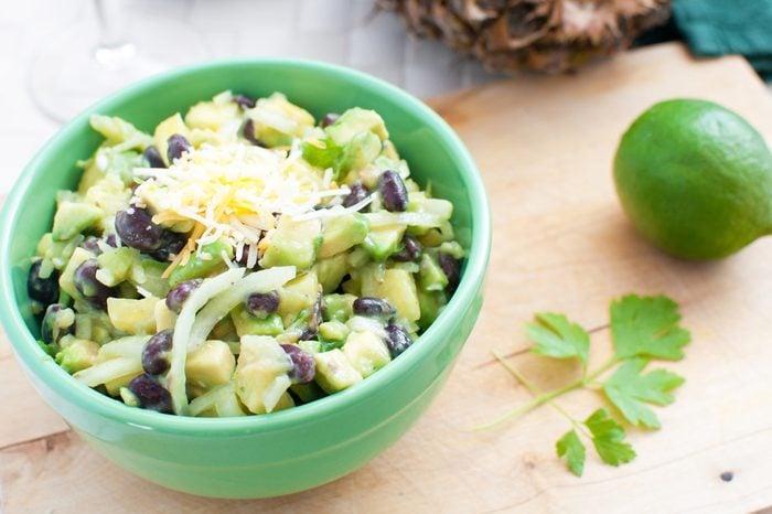 Avocados, black beans and pineapple salad horizontal