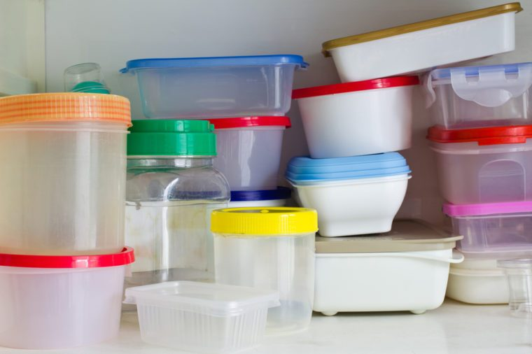 Reusable plastic container in the larder