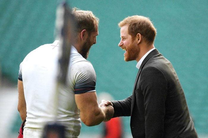 Prince Harry attends England rugby team training, London, United Kingdom - 16 Feb 2018