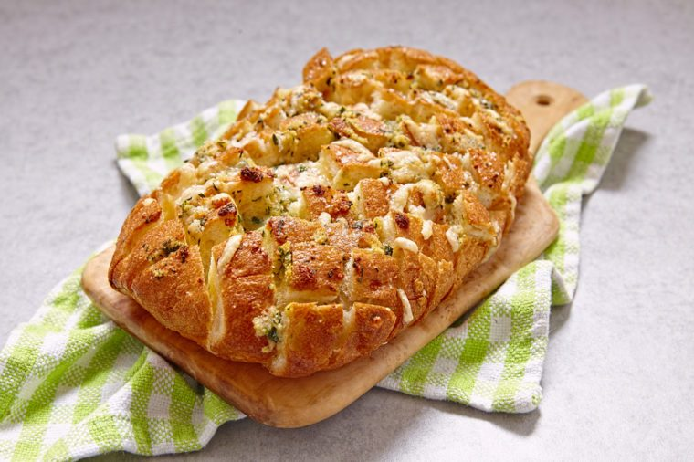 Fresh pull apart cheese and garlic bread