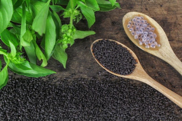 raw basil seed, herb in Thai, aids digestion as a laxative
