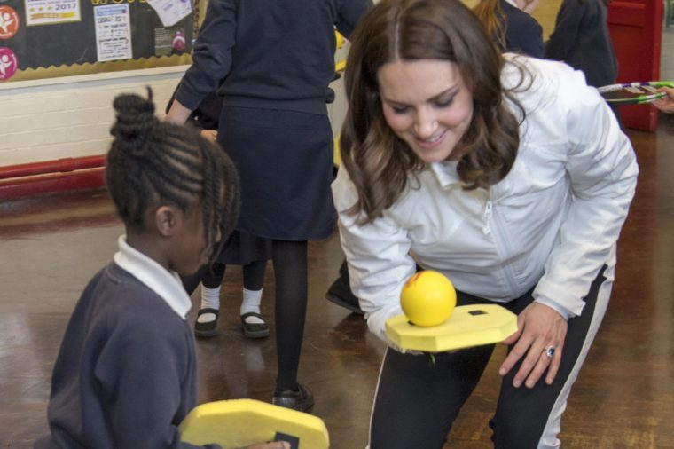 Catherine Duchess of Cambridge visits Bond Primary School to see the work of the Wimbledon Junior Tennis Initiative