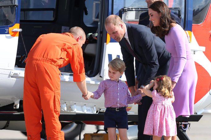 Prince William, Catherine Duchess of Cambridge, Prince George and Princess Charlotte at Hamburg Airport
