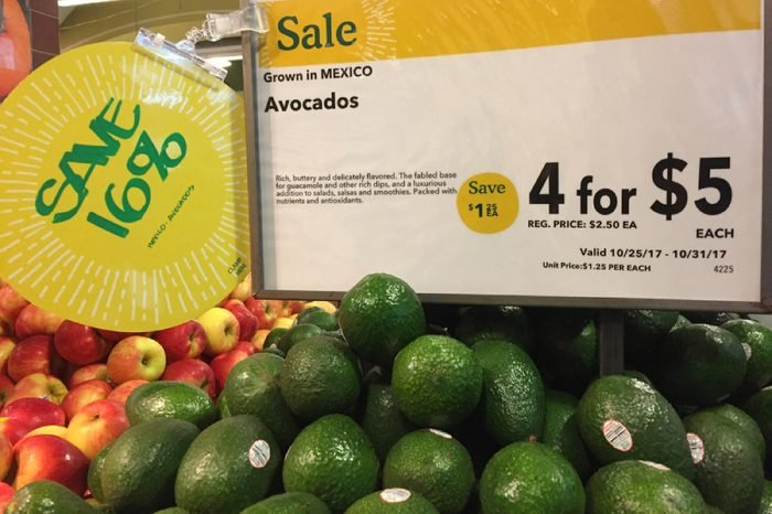 NEW YORK CITY: March 2, 2018: Amazon (NASDAQ: AMZN) has cut prices on avocados at Whole Foods. Whole Foods stores have cut prices nationally on more than a dozen popular items, including organic eggs,