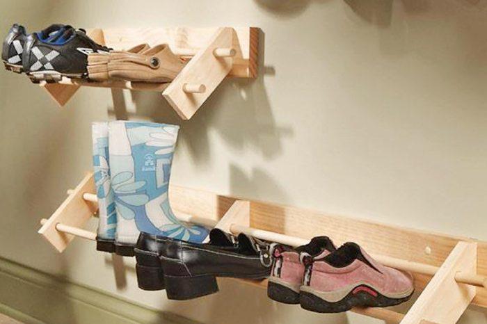 shoes on shoe rack