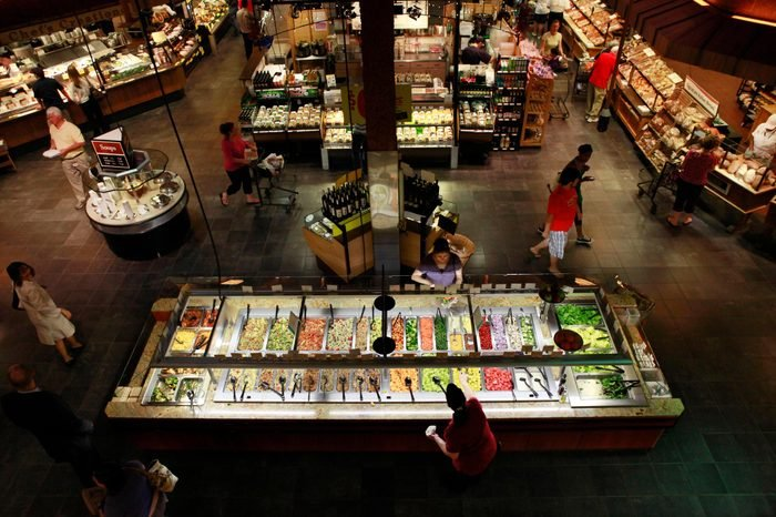 Food Grocery Dining Customers shop at the salad bar for lunch at the Market Cafe in the Wegmans grocery store in Fairfax, Va., . The prepared supermarket food available today is a far cry from the modest offerings of fresh coffee, potato salad and rotisserie chickens of years past