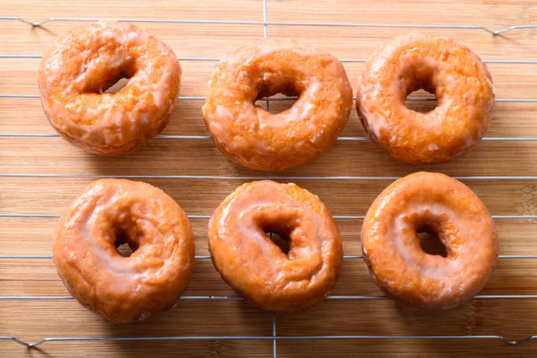 Glazed donuts on a rack top view