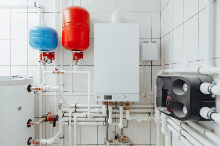 modern independent heating system in boiler room