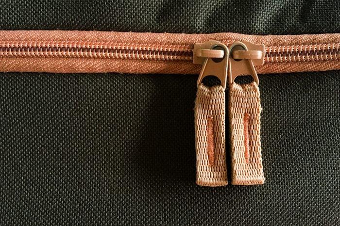 zipper on bag background.