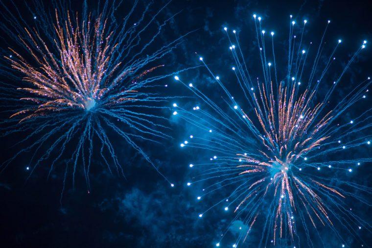 Blue fireworks at festival