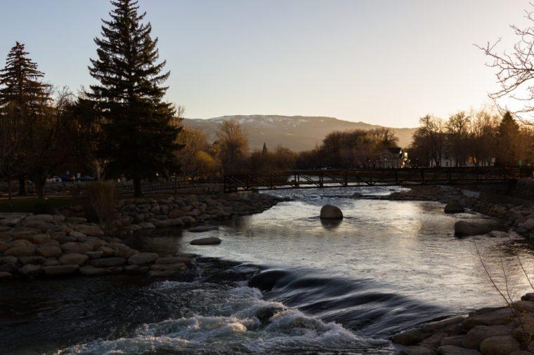 Sunsetting on Wingfield park Reno, Nevada. Bridge crossing the Truckee river.