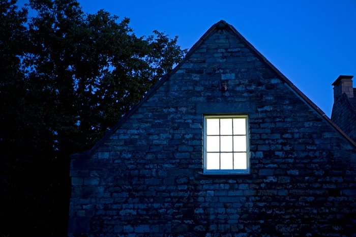 An image of a house at night
