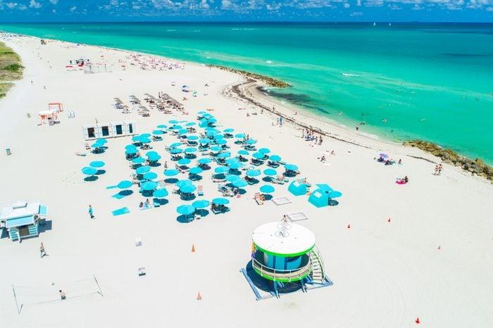 Aerial view of Miami Beach, South Beach, Florida, USA.