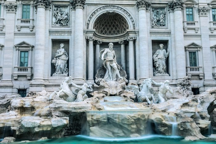 The Trevi Fountain at dawn - Fontana di Trevi - is a fountain in the Trevi district in Rome, Italy, designed by Italian architect Nicola Salvi and completed by Pietro Bracci. - 1762