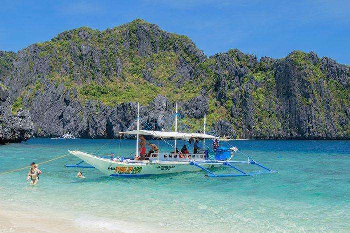 El Nido, Palawan island, Philippines - 05 of March 2018: Boats in El Nido, Palawan island, Philippines