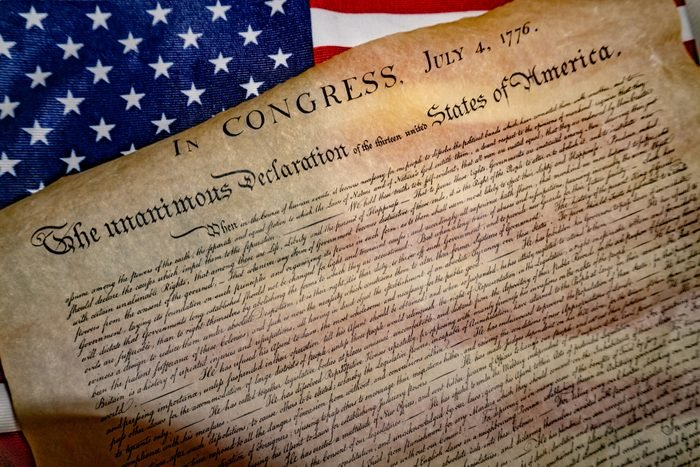 American Declaration of independence 4th july 1776 on usa flag background