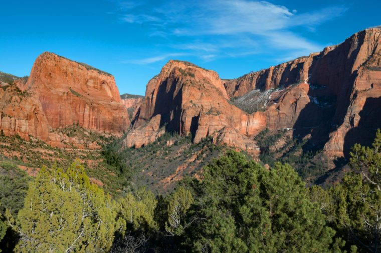 The peaks along Kolob Canyon in Zion National Park, Utah