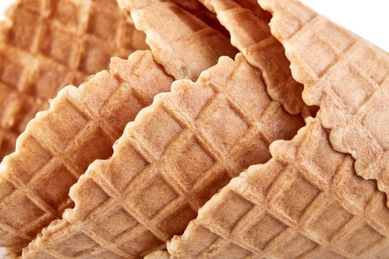 waffle ice cream cone isolated on white background
