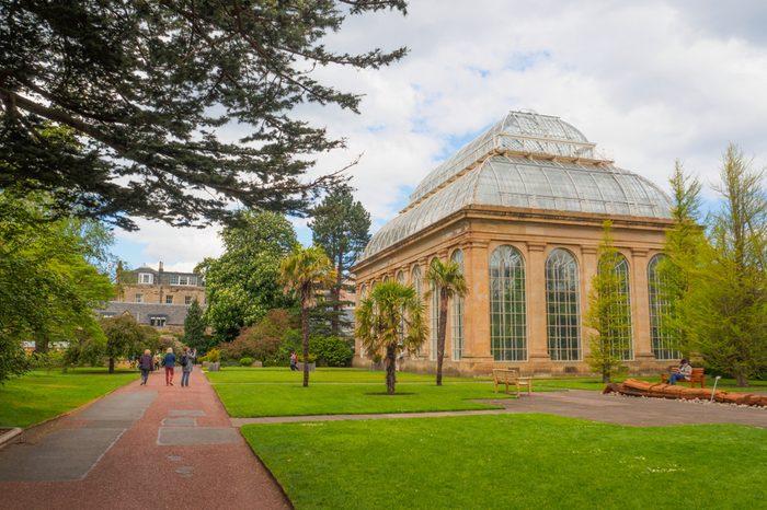 The Victorian Tropical Palm House, the oldest glasshouse at the Royal Botanic Gardens, a public park in Edinburgh, Scotland, UK.
