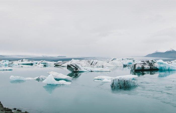 Glacial ice melting on mountais of iceland