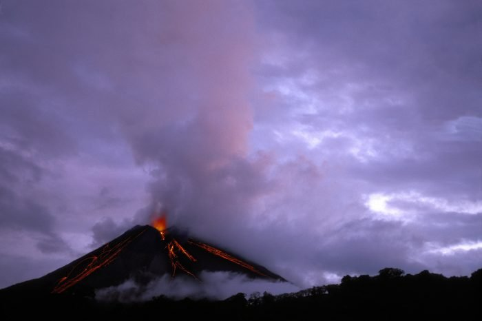 Arenal Volcano an active volcano since 1968, Arenal Volcano National Park, Costa Rica, Central America. Central America