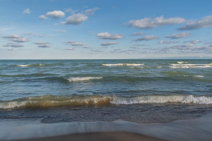 Waves crashing in on the shore of Lake Michigan. Indiana dunes state park, Indiana.