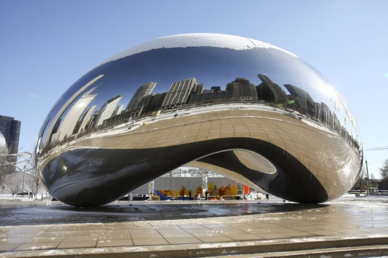 Cloud Gate also known as the Bean, in Millennium Park, Chicago
