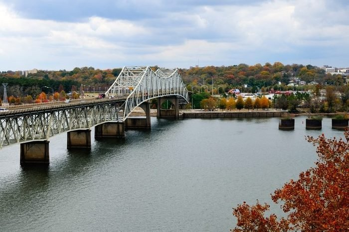 Beautiful Fall view of Oneal Bridge over the Tennessee River at Florence Alabama