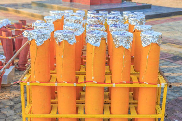 group of fireworks mortar tubes