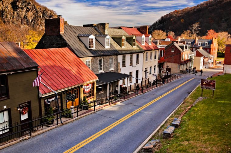 Historic buildings and shops on High Street in Harper's Ferry, West Virginia.