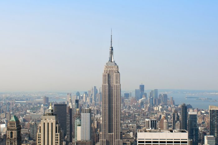 New York aerial skyline from the top of the observation deck on Rockefeller center.