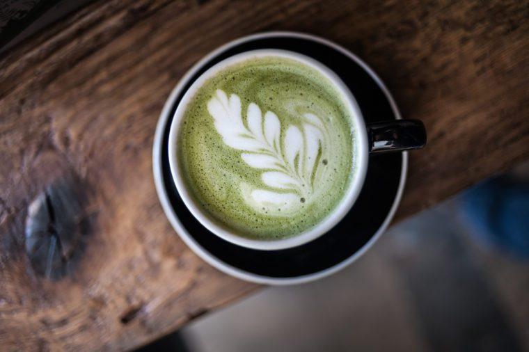 Matcha Latte. Foam Art