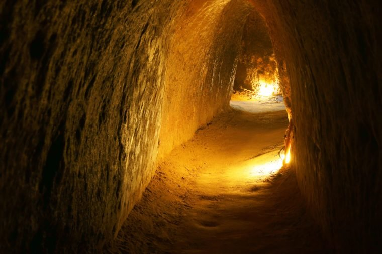 Cu Chi tunnel, historic famous place in Vietnam war, army dig underground dug out to living, now it's heritage destination for Viet Nam travel in Ho Chi Minh city