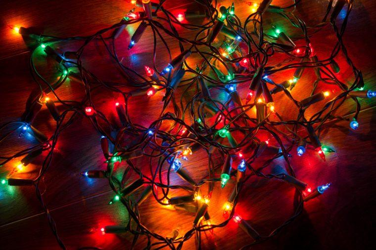 Christmas lights on a floor