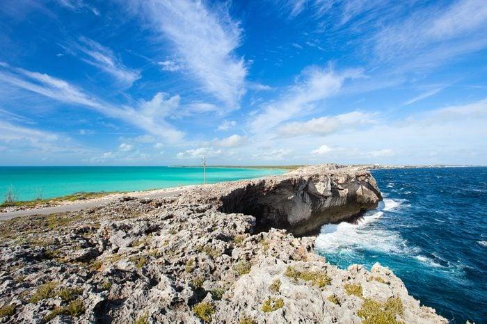 Glass window bridge on Eleuthera island Bahamas where Caribbean sea meets Atlantic ocean