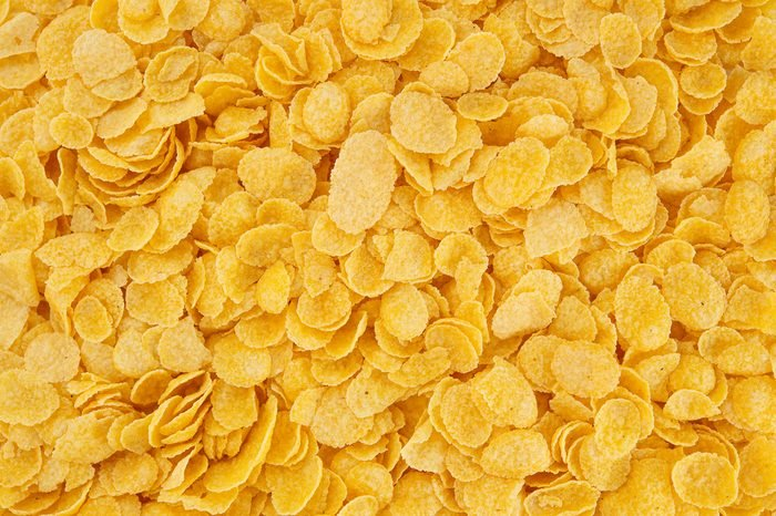 Corn-flakes background and texture, cornflake cereal box for morning breakfast.
