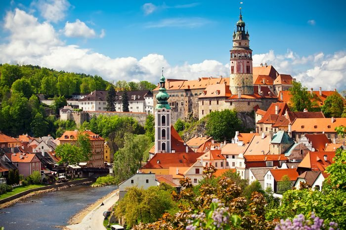 Beautiful view to church and castle in Cesky Krumlov, Czech republic
