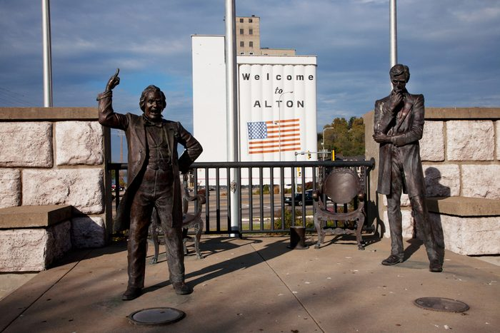 Site of historic debate between Senator Stephen Douglas and Abraham Lincoln in 1858 over slavery, in Alton, Il. Where the final debate was held on October 15, 1858