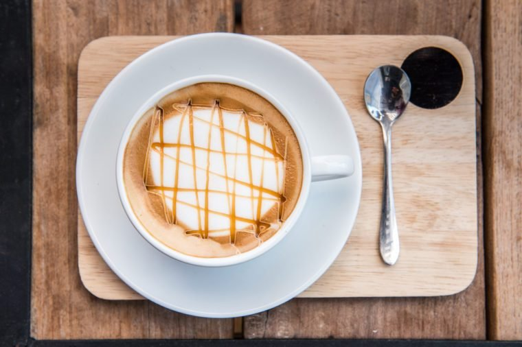 caramel macchiato on wood table