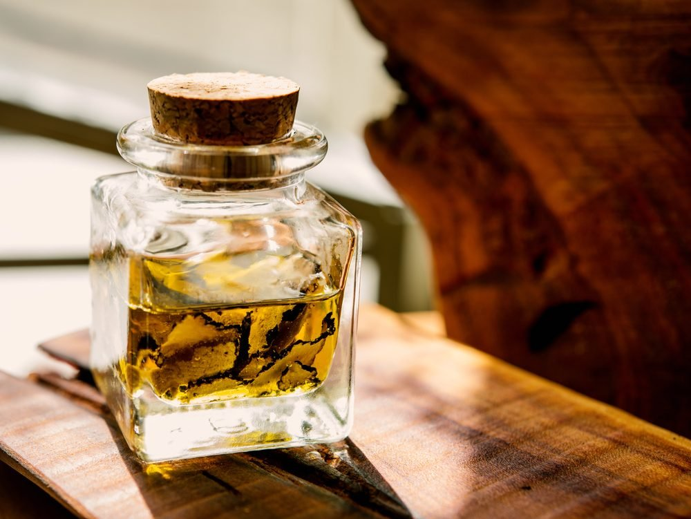 mushrooms black truffle in the bottle with oil It is standing on a wooden board in front of sunlight