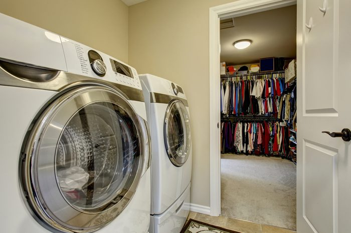 Excellent laundry room with washer, dryer and large closet.