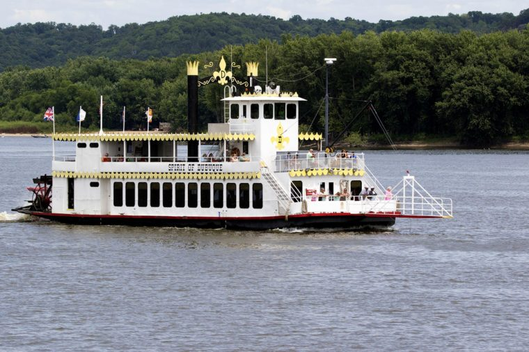 August 5, 2015, Dubuque, Iowa: The Spirit of Dubuque riverboat takes passengers on a tour of the Mississippi River near Dubuque Iowa.