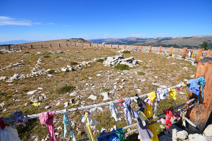 Medicine Wheel in Wyoming - situated at nearly 10,000 feet and is a sacred stone circle significant in Native American Indian culture.