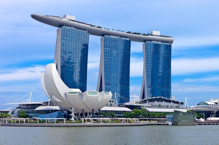 SINGAPORE - CIRCA AUGUST 2015: Marina Bay Sands hotel in Singapore. Marina Bay Sands is an integrated resort fronting Marina Bay in Singapore, august 2015, Singapore