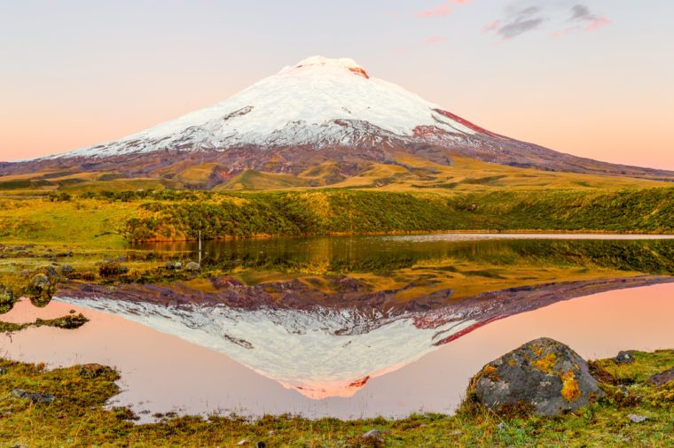 Cotopaxi Volcano Reflecting In Santo Domingo Laguna